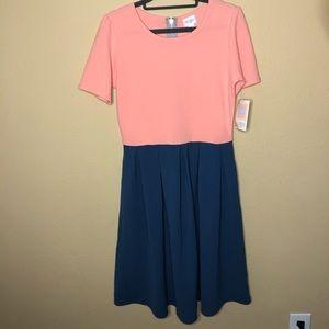 NWT LuLaRoe Amelia Colorblock Dress Medium